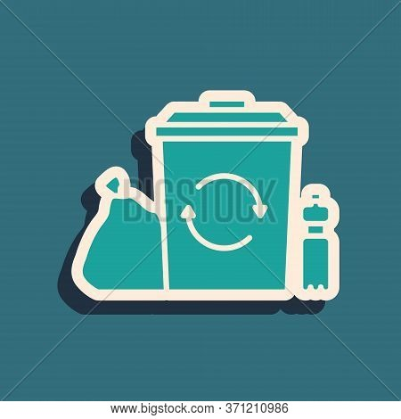 Green Recycle Bin With Recycle Symbol Icon Isolated On Green Background. Trash Can Icon. Garbage Bin