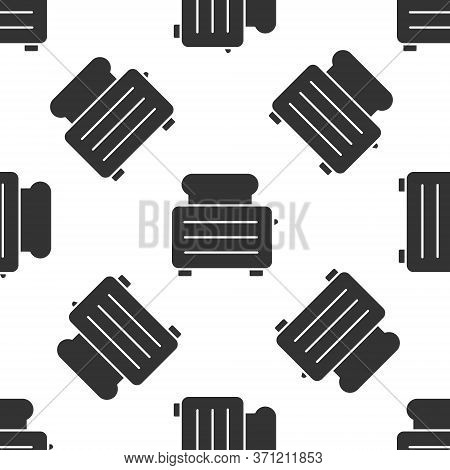 Grey Toaster With Toasts Icon Isolated Seamless Pattern On White Background. Vector Illustration