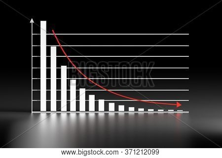 Graph Chart With Exponential Decay Bars And Arrow Down On Black Shiny Reflective Background. 3d Illu