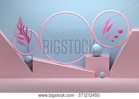 Delicate Glamour Composition With Geometric Primitive Shapes - Rings, Spheres And Plant Branches In