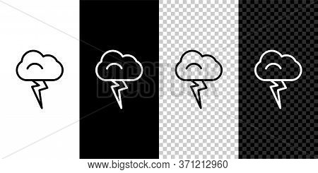 Set Line Storm Icon Isolated On Black And White Background. Cloud And Lightning Sign. Weather Icon O