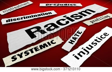 Racism News Headlines Discrimination Protest Injustice Words 3d Animation