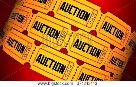Auction Ticket Admission Pass Buy Bid Shop for Deals 3d Illustration