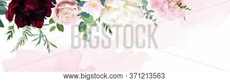 Trendy Simple Flat Lay Design Vector Horizontal Background. Pink Hydrangea, Palm Leaves, Burgundy Re