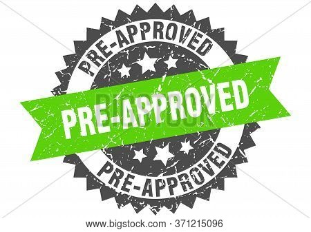 Pre-approved Grunge Stamp With Green Band. Pre-approved