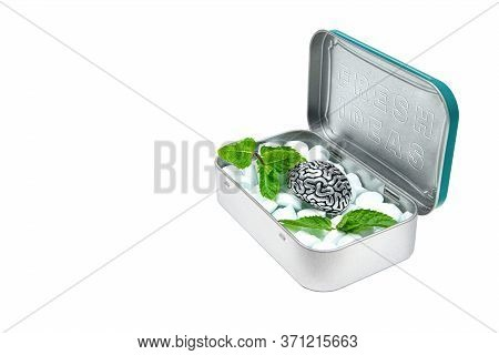 Tin Box With Breath Mints, A Detailed Copy Of Human Brain And Some Green Mint Leaves Inside. Text Fr
