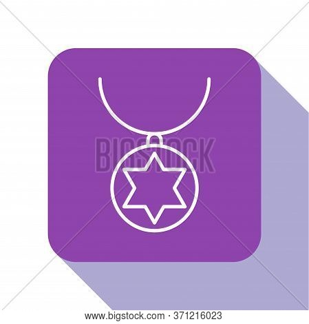 White Line Star Of David Necklace On Chain Icon Isolated On White Background. Jewish Religion. Symbo