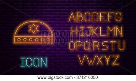 Glowing Neon Line Jewish Kippah With Star Of David Icon Isolated On Brick Wall Background. Jewish Ya