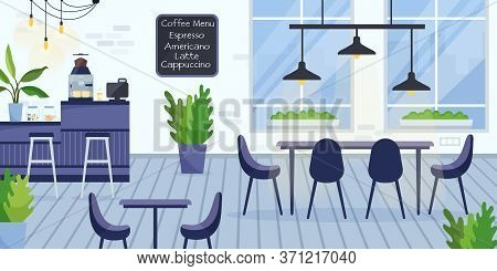 Flat Vector Illustration Of Modern Empty Coworking Cafe Interior. Freelance Workspace Inside Coffeeh