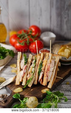 Delicious Homemade Club Sandwich
