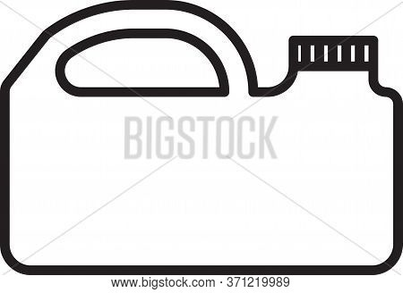 Black Line Plastic Canister For Motor Machine Oil Icon Isolated On White Background. Oil Gallon. Oil