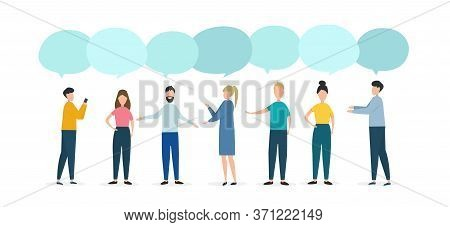 Opinion Exchange Concept. People With Speech Bubbles Debating Problem On White Background, Space For