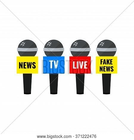 News Microphone Icon Set Isolated On White Background. Microphone With News Tv Live And Fake News Te