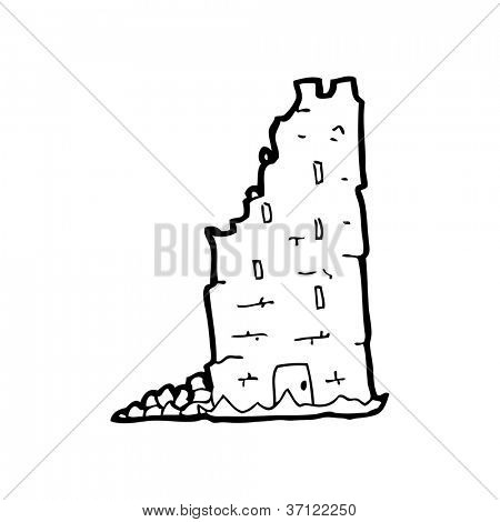 tumbledown old castle tower cartoon
