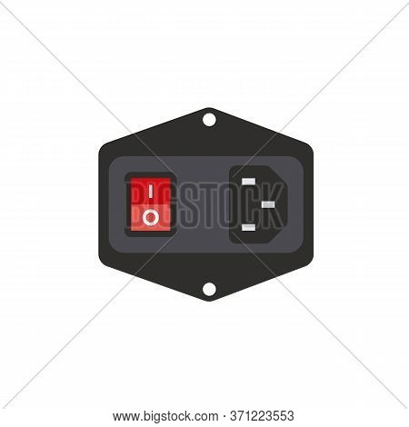 Dc Jack Ac Power Supply Male Socket Model Ac-015 Iec320 3 Pin. Pc Red Color Power Switch.