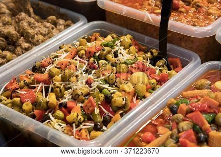 Varieties Of Vegetables And Spices Preserved In Vinegar And Brine To Be Used As A Salad Or Relish Wi