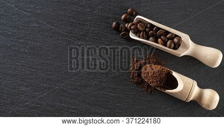 Coffee Beans On Black Caffeine Breakfast Background. For Cup Of Dark Espresso Food Or Drink. Assorte