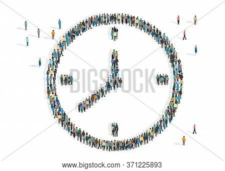 Volunteer Your Time Concept. Clock Made By People Mob On White Background, Vector Illustration In Fl