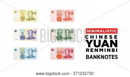 Chinese Yuan Renminbi Money Banknotes Of China, Flat And Minimalistic Paper Money Cny - Vector One S