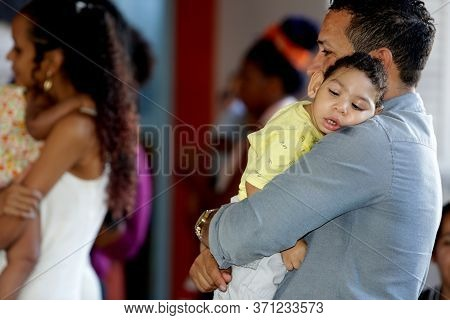 Salvador, Bahia / Brazil - April 27 2017: Child With Microcephaly Are Seen At The Embrace Microcepha