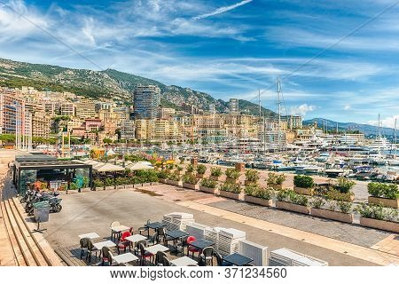 View Over Luxury Yachts And Apartments Of Port Hercules In La Condamine District, City Centre And Ha