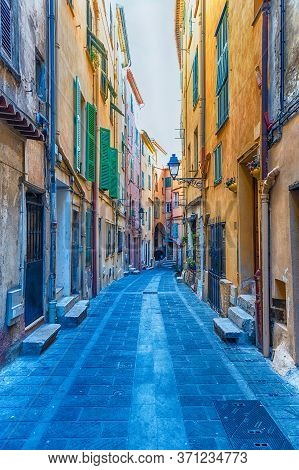 Picturesque Streets In The Centre Of Menton, Picturesque City In The Provence-alpes-côte D'azur Regi