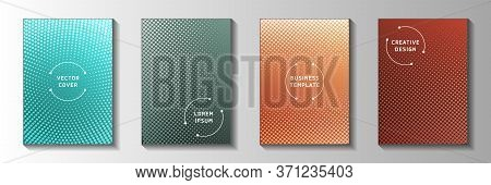 Colorful Dot Screen Tone Gradation Front Page Templates Vector Set. Business Brochure Faded Screen T