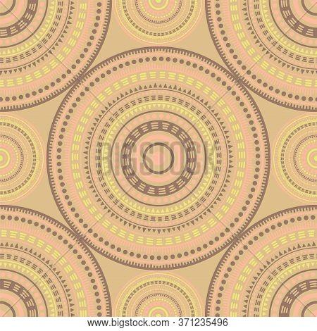 Ottoman Ethnic Motifs Seamless Pattern. Round Medallion Mandala Geometric Tiles. Textile Print Templ