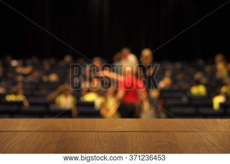 Blurred Background, View From The Stage To The Auditorium, Spectators Sit Down Before The Concert