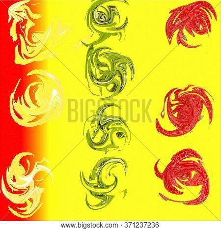 Yellow-red Background With Colorful Curls. Colorful Illustration With Green And Red Curls. Abstract