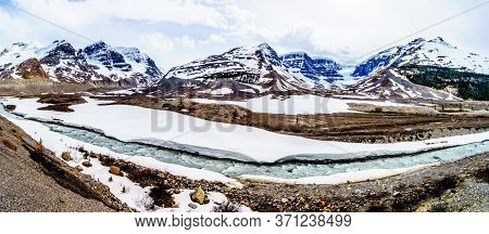 Panorama View Of The Columbia Icefields In Jasper National Park, Alberta, Canada At Spring Time. The