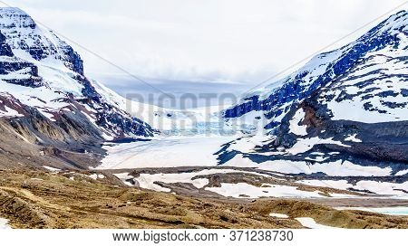 The Athabasca Glacier In The Columbia Icefields In Jasper National Park, Alberta, Canada At Spring T