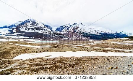The Snow Dome And Mount Kitchener At The Columbia Icefields In Jasper National Park, Alberta, Canada