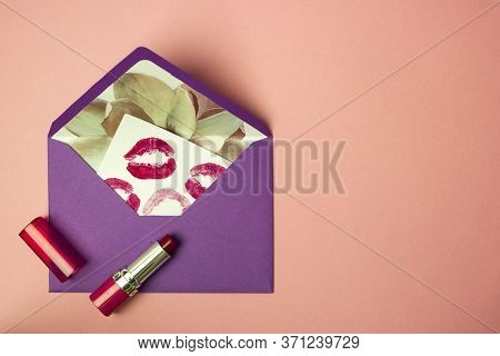 Love Letter With Kisses, Macaroons Lipstick Perfume And Macaroons, Feminine Concept, Gifts, Top View