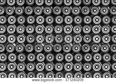 Batteries Top View, Alkaline Battery Aa Size Format, Black And White. Energy Abstract Background