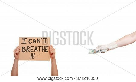 Hands Of Protesting Faceless Man In Gloves Holding A Poster With Message I Can't Breathe The Hand Of