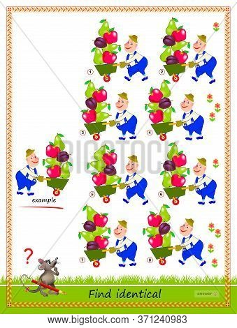 Logic Puzzle Game For Children And Adults. Find Reflection Of Gardener Identical The Example. Printa