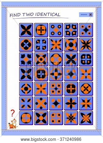 Logic Puzzle Game For Children And Adults. Find Two Tiles With Identical Ornament. Printable Page Fo
