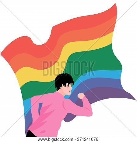 Portrait Of Young Gay Running With Rainbow Flag Behind Him. Vector Illustration On White Background.