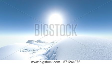 3d rendering of winter mountain illustration