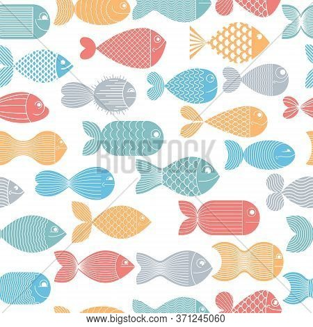 Cute Fiches Seamless Background, Seamless Pattern, Cute Childish Background For Children Textile Or