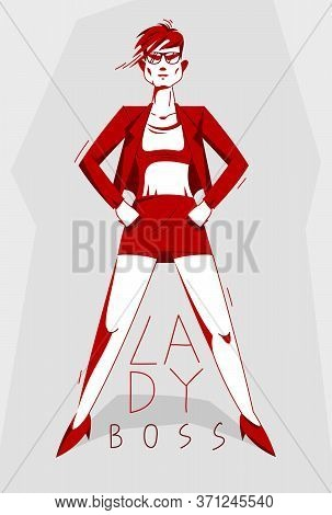 Big Boss Director Woman Stands Confident Serious And Angry Vector Illustration, Bad Boss Despot And