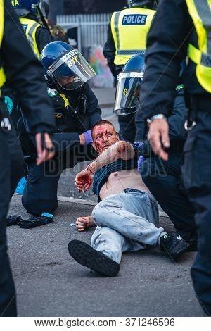 London / Uk - 06/13/2020: Black Lives Matter Protest During Lockdown Coronavirus Pandemic.  White Ma