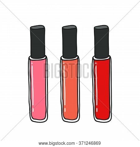 Lip Gloss Doodle Icon, Vector Color Illustration