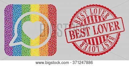 Grunge Best Lover Stamp Seal And Mosaic Favorite Message Subtracted For Lgbt. Dotted Rounded Rectang