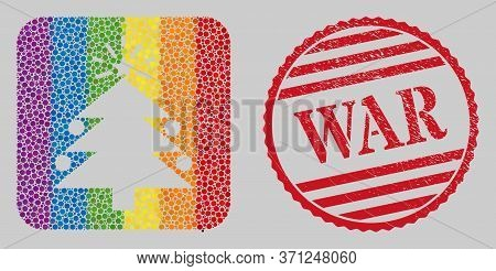 Grunge War Stamp Seal And Mosaic Christmas Fir Tree Stencil For Lgbt. Dotted Rounded Rectangle Mosai