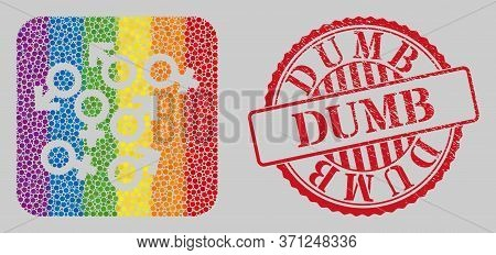 Grunge Dumb Seal And Mosaic Gender Symbols Stencil For Lgbt. Dotted Rounded Rectangle Mosaic Is Arou