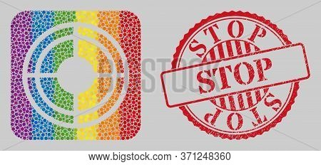 Distress Stop Stamp Seal And Mosaic Bullseye Stencil For Lgbt. Dotted Rounded Rectangle Mosaic Is Ar