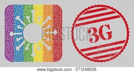 Scratched 3g Stamp Seal And Mosaic Contagious Virus Stencil For Lgbt. Dotted Rounded Rectangle Mosai