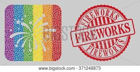 Scratched Fireworks Stamp Seal And Mosaic Fireworks Stencil For Lgbt. Dotted Rounded Rectangle Mosai